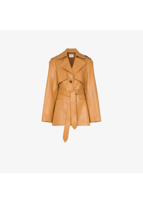 Khaite Billy short leather trench coat