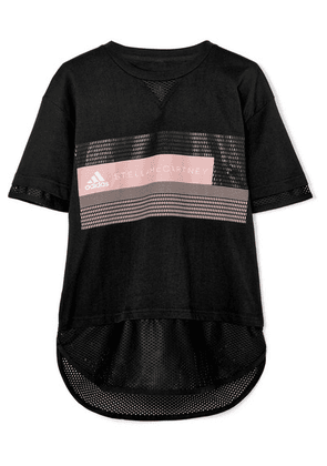 adidas by Stella McCartney - Mesh-paneled Printed Cotton-blend Climalite T-shirt - Black
