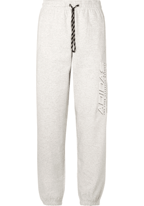 Adidas Originals By Alexander Wang - Printed Cotton-terry Track Pants - Light gray