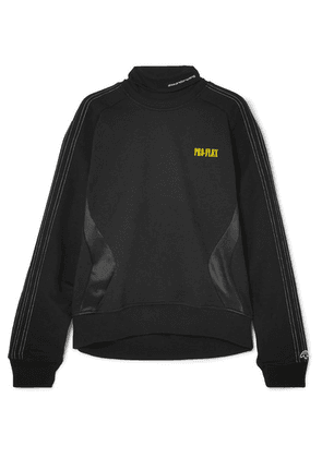 Adidas Originals By Alexander Wang - Printed Embroidered Cotton-terry And Satin-jersey Sweatshirt - Black