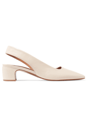 BY FAR - Danielle Leather Slingback Pumps - White
