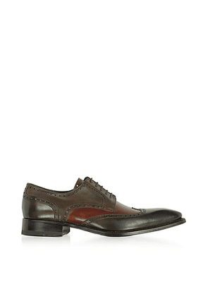 Two-Tone Italian Handcrafted Leather Wingtip Oxford Shoes
