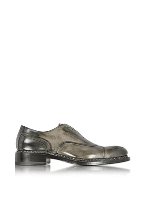 Italian Handcrafted Black/Gray Washed Leather Oxford Shoe