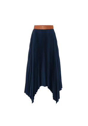 Leather-trimmed pleated skirt