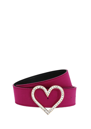 Heart Satin Belt W/ Crystal Buckle