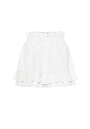 Griddy linen shorts