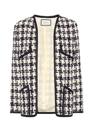 Houndstooth tweed wool-blend jacket
