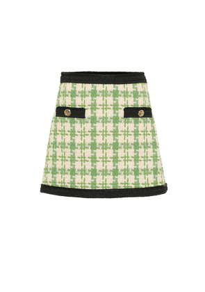 Wool and cotton-blend miniskirt