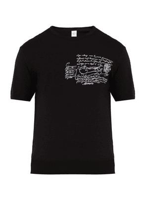 Berluti - Scritto Embroidered Wool Jersey T Shirt - Mens - Black