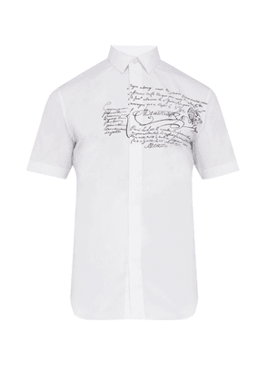 Berluti - Scritto Printed Stretch Cotton Poplin Shirt - Mens - White