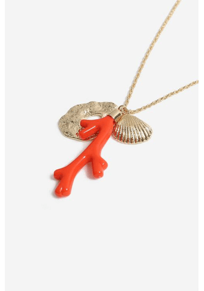 Womens **Twist Chain Coral Pendant - Red, Red