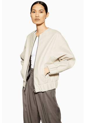 Womens **Leather Bomber Jacket By Boutique - Off White, Off White