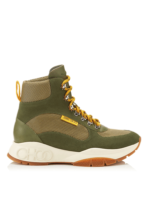 INCA/M Army Mix Technical Mesh and Leather Mix Hi Top Trainer Style Boots