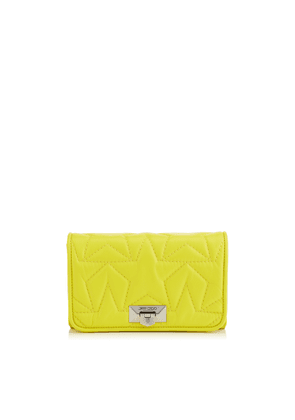 HELIA CLUTCH Fluorescent Yellow Star Matelassé Nappa Leather Clutch with Chain Strap