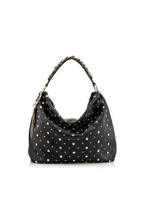 CALLIE/L Black Nappa Leather Slouchy Shoulder Bag with Star and Rounds Studs