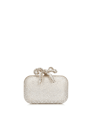 CLOUD Ballet Pink Sprinkled Crystals on Mesh Clutch Bag with Crystal Bow Clasp