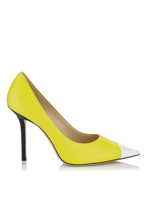 LOVE 100 Black White and Fluorescent Yellow Asymmetric Patent and Nappa Leather Pointy Toe Pump
