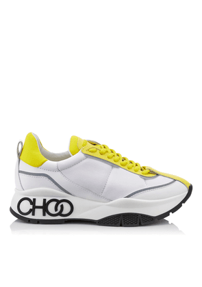 RAINE Pop Yellow Neoprene Calf and Rubberised Lace Up Trainers