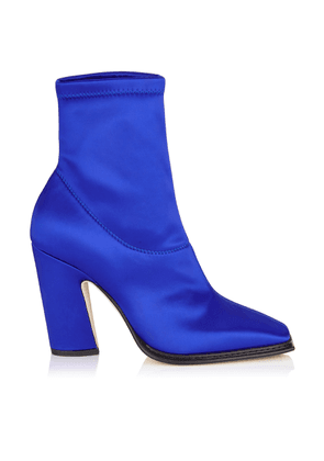 MICA 100 Electric Blue Stretch Satin Squared Closed Toe Boot