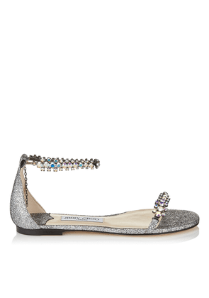 SHILOH FLAT Multi Hologram Leather Flat Open Toe Sandal with Jewel Trim