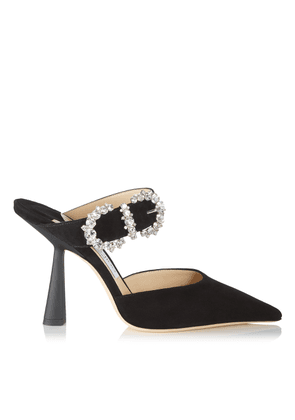 SMOKEY 100 Black Suede Pump with Jewelled Buckle