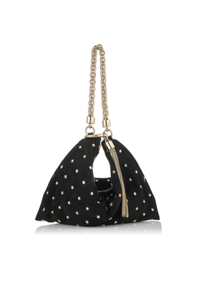 CALLIE Black Suede Clutch Bag with Crystal Star Studs and Chain Strap