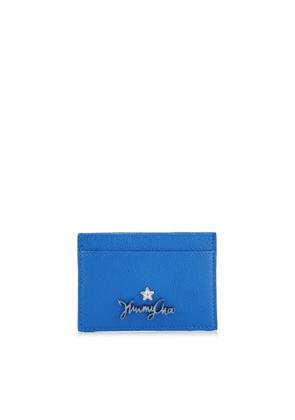 ARIES Electric Blue Calf Leather Card Holder