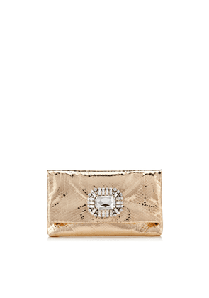 TITANIA Gold Metallic Python Clutch Bag with Jewelled Centre Piece