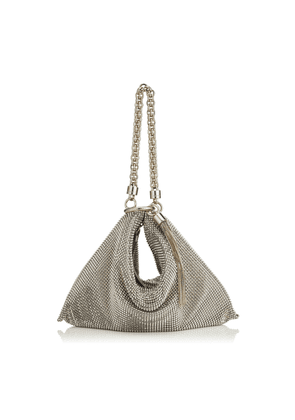 CALLIE Silver Chain Mail Mesh Clutch Bag with Chain Strap