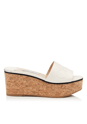 DEEDEE 80 Latte Nappa Leather Wedge Sandal with Embossed Logo