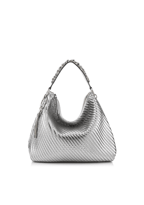 CALLIE/L Silver Mix Woven Metallic Fabric Slouchy Shoulder Bag