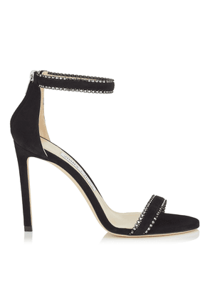 DOCHAS 100 Black Open Toe Sandal with Jewel Trim