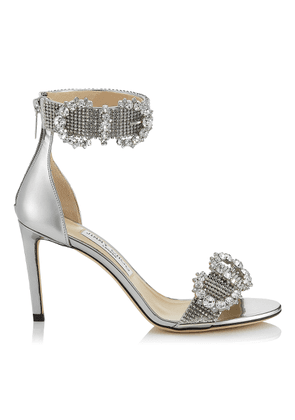 LAIS 85 Silver Liquid Mirror Leather Sandals with Crystal Buckles