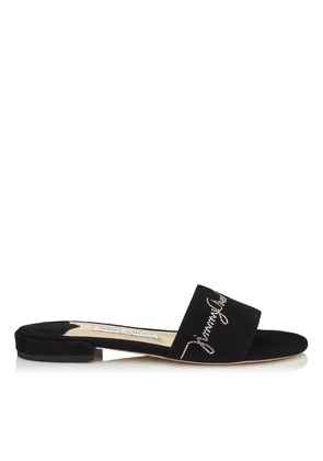 JONI FLAT Black Suede with Crystal Hotfix Slides