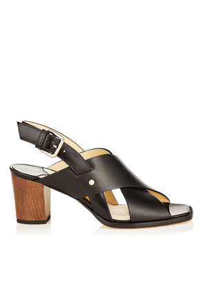 AIX 65 Black Mix Vachetta Leather and Patent Strap Sandal