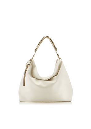 CALLIE/L Latte Calf Leather Slouchy Shoulder Bag with Gold Chain Strap