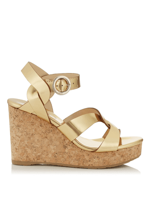 ALEILI 100 Gold Mirror Leather Wedge with Buckle