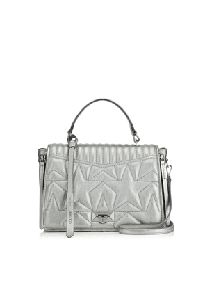 HELIA TOP HANDLE Top Handle Bag in Anthracite Metallic Nappa Leather with Star Matelassé