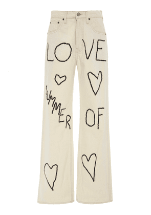 B SIDES Plein High-Rise Straight-Leg Embroidered Jeans