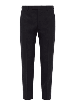 Berluti - Tailored Mid Rise Wool Twill Trousers - Mens - Navy