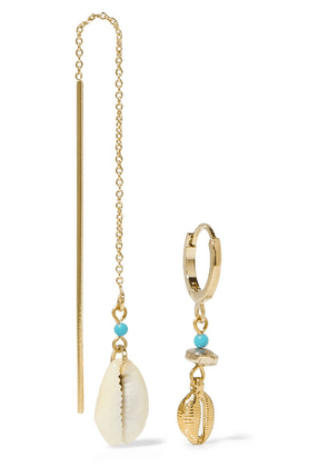Isabel Marant - Gold-tone, Shell And Bead Earrings - Blue