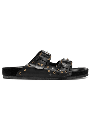 Isabel Marant - Lennya Embellished Leather Slides - Black