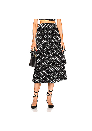 Cinq a Sept Rowena Skirt in Black,Polka Dots