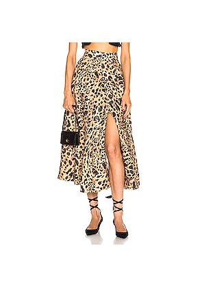 Zimmermann Veneto High Waisted Flare Skirt in Animal Print,Neutral