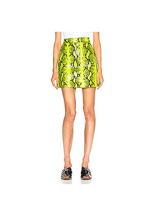 OFF-WHITE Python Zipped Skirt in Animal Print,Green