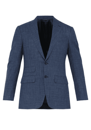 Thom Sweeney - Single Breasted Checked Wool Blend Suit Jacket - Mens - Blue