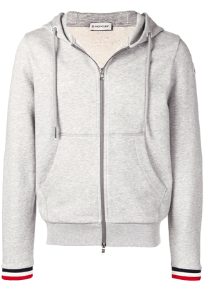 Moncler striped cuff hoodie - Grey