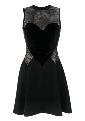 Elie Saab heart motif lace insert dress - Black