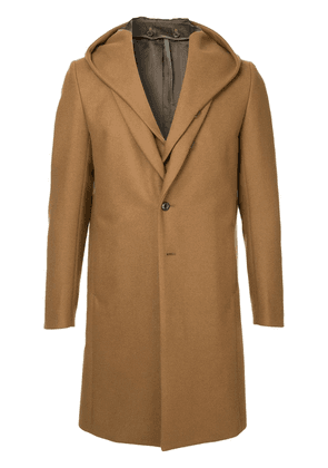 Attachment hooded single-breasted coat - Brown