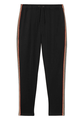 Burberry Icon Stripe Detail Jersey Trackpants - Black